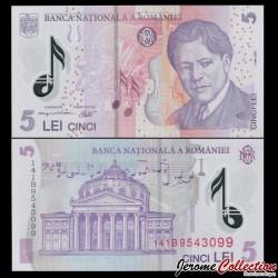 ROUMANIE - Billet de 5 Lei - George Enescu - Polymer - 2014 P118g