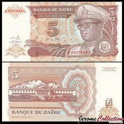 ZAIRE - Billet de 5 Nouveaux Zaïre - 24.6.1993