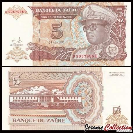 ZAIRE - Billet de 5 Nouveaux Zaïre - 24.6.1993 P53a