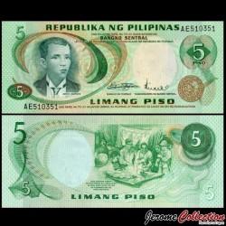 PHILIPPINES - Billet de 5 Piso - Andres Bonifacio - 1970