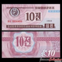 COREE DU NORD - Billet de 10 CHON - 1988 P25a2