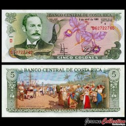 COSTA RICA - Billet de 5 Colones - orchidée - 1991