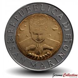 SAINT-MARIN - PIECE de 500 Lires - La surface de la lune - 1999