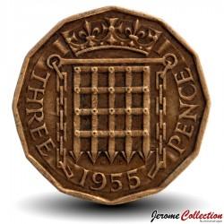 ROYAUME UNI - PIECE de 3 Pence - 1955 Km#900