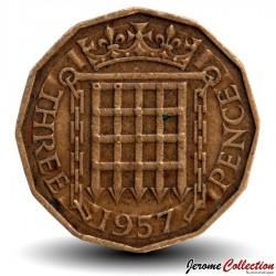 ROYAUME UNI - PIECE de 3 Pence - 1957 Km#900