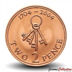 GIBRALTAR - PIECE de 2 Pence - Trousseau de 4 clefs - 2004 Km#1044