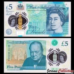 ROYAUME-UNI - Billet de 5 Pounds - Winston Churchill - Polymer - 2015