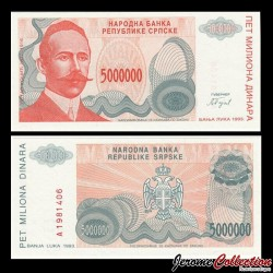 BOSNIE HERZEGOVINE - Billet de 5000000 Dinara - Petar Kočić - 1993 P156a