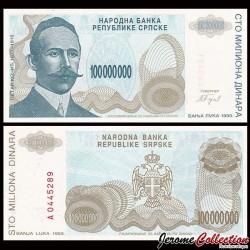 BOSNIE HERZEGOVINE - Billet de 10000000 Dinara - Petar Kočić - 1993