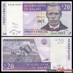 MALAWI - Billet de 20 Kwacha - Culture du Thé - 31.10.2009 P52d