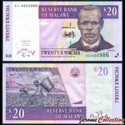 MALAWI - Billet de 20 Kwacha - Culture du Thé - 01.06.2004 P52a