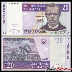 MALAWI - Billet de 20 Kwacha - Culture du Thé - 31.10.2007