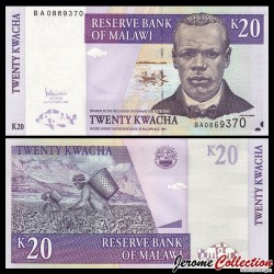 MALAWI - Billet de 20 Kwacha - Culture du Thé - 31.10.2007 P52c