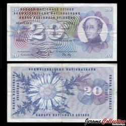 SUISSE - Billet de 20 Francs - Général Guillaume Henri-Dufour - 1970 P46r2