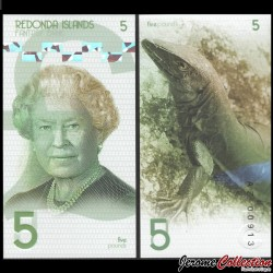 REDONDA - Billet de 5 Pounds - Lezard - 2019
