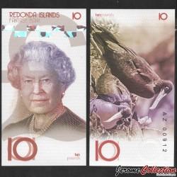 REDONDA - Billet de 10 Pounds - Oiseau Frégate - 2019 0010