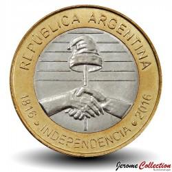 ARGENTINE - PIECE de 2 Pesos - Indépendance de l'Argentine - Bimétal - 2016 Km#184