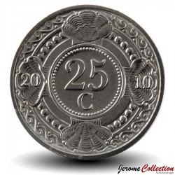 ANTILLES NEERLANDAISES - PIECE de 25 Cents - Fleur d'oranger - 2010 Km#35