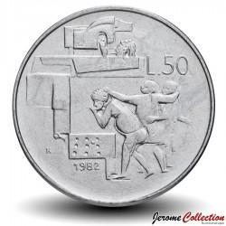 SAINT-MARIN - PIECE de 50 Lires - Réalisations sociales - 1982 Km#136