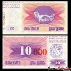 BOSNIE HERZEGOVINE - Billet de 10000 Dinara - Pont de Mostar - Tampon manuel daté: 15.10.1993 P53h