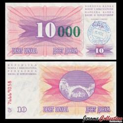 BOSNIE HERZEGOVINE - Billet de 10000 Dinara - Pont de Mostar - Tampon manuel daté: 15.10.1993 P53e