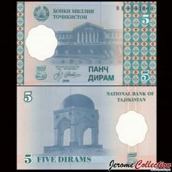 TADJIKISTAN - Billet de 5 Diram - 1999