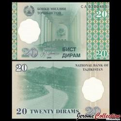 TADJIKISTAN - Billet de 20 Diram - 1999