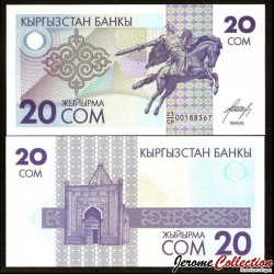 KIRGHIZISTAN - Billet de 20 Som - Statue équestre de Manas le Noble - 1993