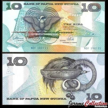 PAPOUASIE NOUVELLE GUINEE - Billet de 10 Kina - Oiseau de paradis - 1989