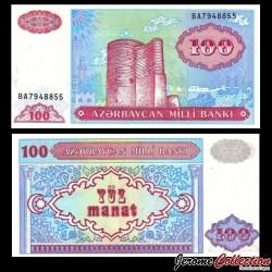 AZERBAIDJAN - Billet de 100 Manat - Tour de la jeune fille, Bakou - 1993