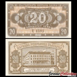 BULGARIE - Billet de 20 Leva - 1950