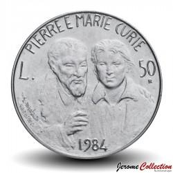 SAINT-MARIN - PIECE de 50 Lire - Pierre et Marie Curie - 1984