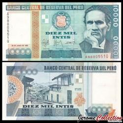 PEROU - Billet de 10000 Intis - César Vallejo - 21.6.1988 P140a