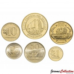 PARAGUAY - SET / LOT de 6 PIECES de 1 5 10 50 100 500 Guaranies - 1992 1993 1996 1998 2012 Km#166 177 178 191 192 195