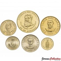 PARAGUAY - SET / LOT de 6 PIECES de 1 5 10 50 100 500 Guaranies - 1992 1993 1996 1998 2012
