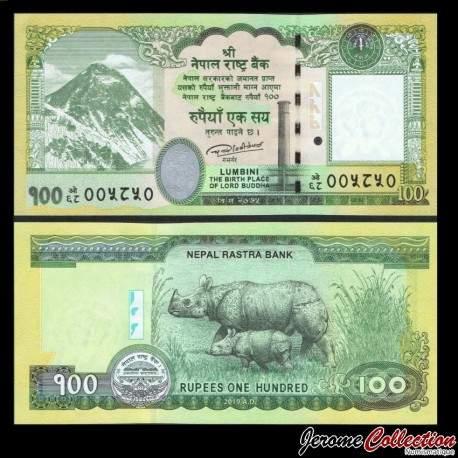NEPAL - Billet de 100 Roupies - Rhinocéros et son petit - 2019 P80b