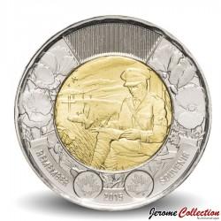"""CANADA - PIECE de 2 DOLLARS - Poème """"Au champ d'honneur"""" - 2015"""
