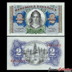 ESPAGNE - Billet de 2 Pesetas - Liberté - 1938