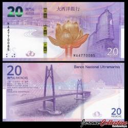 MACAO - BNU - Billet de 20 Patacas - 20e anniversaire du retour de Macao en Chine (1999-2019) - 2019