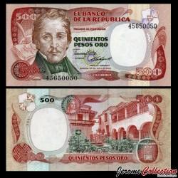 COLOMBIE - Billet de 500 Pesos Oro - Général Francisco de Paula Santander - 20.07.1986
