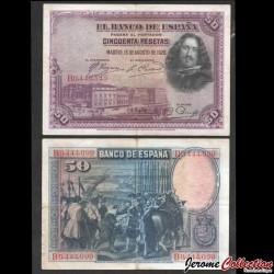 ESPAGNE - Billet de 50 Pesetas - Velázquez - 1928