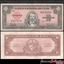 CUBA - Billet de 10 Pesos - Carlos Manuel de Céspedes - 1960