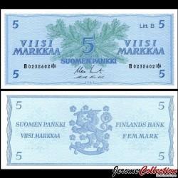 FINLANDE - Billet de 5 MARKKAA - Branche de conifère - 1963