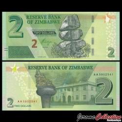 ZIMBABWE - Billet de 2 DOLLARS - Monument de la flamme de l'indépendance - 2019