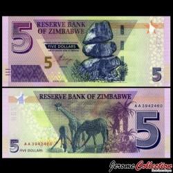 ZIMBABWE - Billet de 5 DOLLARS - Girafes - 2019