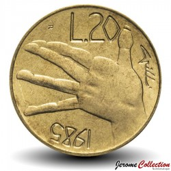 SAINT-MARIN - PIECE de 20 Lires - Main - 1985 Km#177