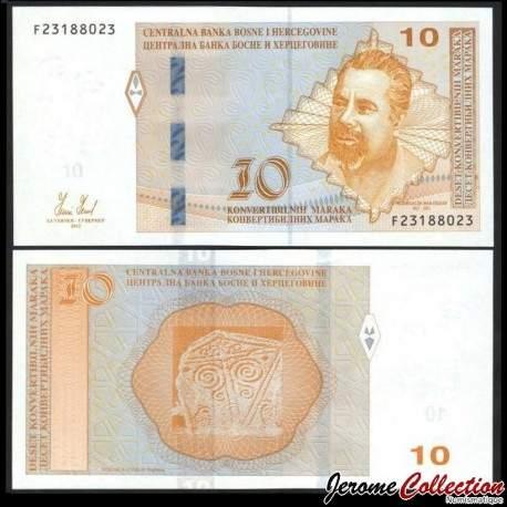 BOSNIE HERZEGOVINE - Billet de 10 Mark convertible - Mak Dizdar - 2012 P80a
