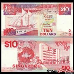 SINGAPOUR - Billet de 10 DOLLARS - Voilier Palari- 1988