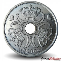 DANEMARK - PIECE de 1 Krone - Monogramme royal - 2000