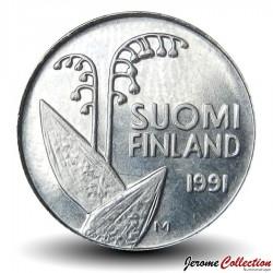 FINLANDE - PIECE de 10 Penniä - Deux brins de muguet - 1991 Km#65
